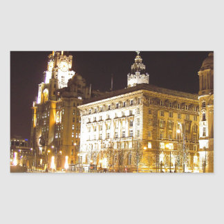 Liver Building & Canal, Liverpool UK Rectangular Sticker