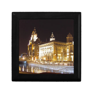 Liver Building & Canal, Liverpool UK Small Square Gift Box