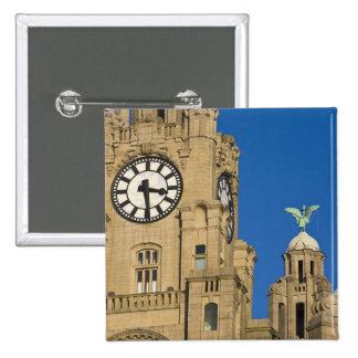 Liver Building, Liverpool, Merseyside, England 15 Cm Square Badge