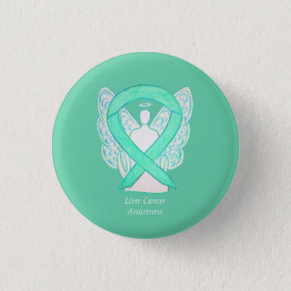 Liver Cancer Angel Jade Awareness Ribbon Art Pin