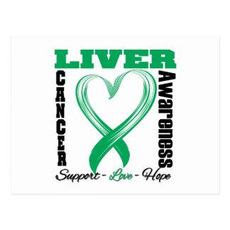 Liver Cancer Awareness Brushed Heart Ribbon Postcards