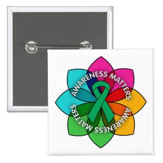 Liver Cancer Awareness Matters Petals 15 Cm Square Badge