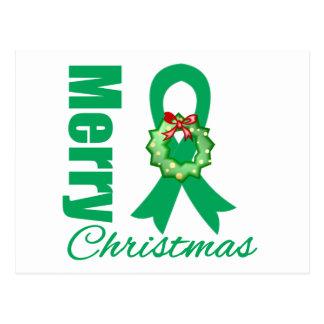 Liver Cancer Awareness Merry Christmas Ribbon Post Cards