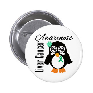 Liver Cancer Awareness Penguin 6 Cm Round Badge
