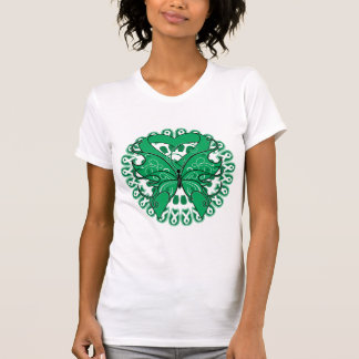 Liver Cancer Butterfly Circle of Ribbons Tee Shirts