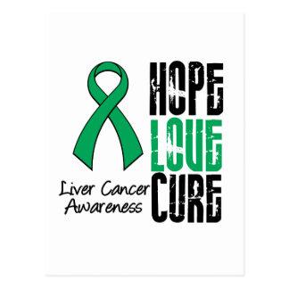 Liver Cancer Cancer Hope Love Cure Ribbon Postcard