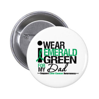 Liver Cancer Emerald Green Ribbon For My Dad 6 Cm Round Badge