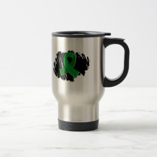 Liver Cancer Emerald Green Ribbon With Scribble Travel Mug