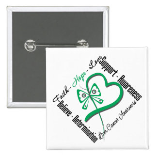 Liver Cancer Faith Hope Love Butterfly 15 Cm Square Badge