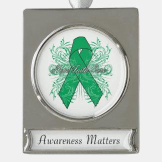 Liver Cancer Flourish Hope Faith Cure Silver Plated Banner Ornament