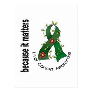 Liver Cancer Flower Ribbon 3 Postcards