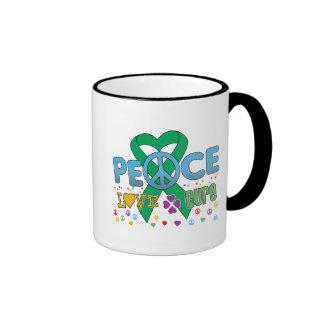 Liver Cancer Groovy Peace Love Cure Coffee Mugs