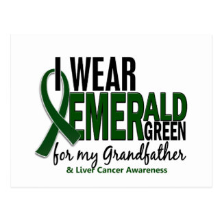 Liver Cancer I Wear E Green For My Grandfather 10 Postcard