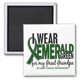 Liver Cancer I Wear E Green For My Great Grandpa Square Magnet