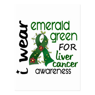 Liver Cancer I Wear Emerald Green For Awareness 43 Post Card