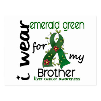 Liver Cancer I Wear Emerald Green For My Brother 4 Postcard