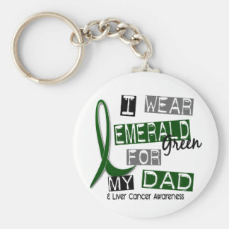 Liver Cancer I Wear Emerald Green For My Dad 37 Basic Round Button Key Ring