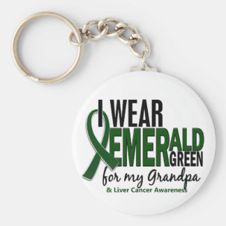 Liver Cancer I Wear Emerald Green For My Grandpa 1 Basic Round Button Key Ring