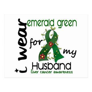 Liver Cancer I Wear Emerald Green For My Husband 4 Postcard