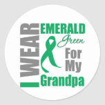Liver Cancer I Wear Emerald Green Grandpa Classic Round Sticker