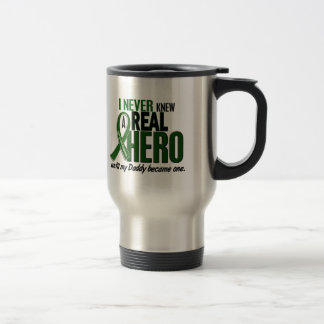 Liver Cancer NEVER KNEW A HERO 2 Daddy 15 Oz Stainless Steel Travel Mug