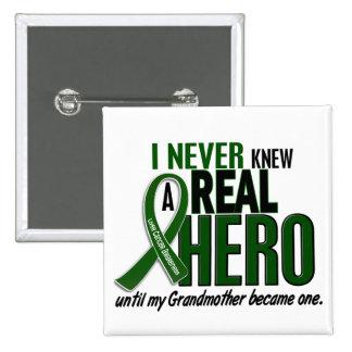Liver Cancer NEVER KNEW A HERO 2 Grandmother 15 Cm Square Badge
