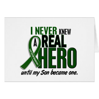 Liver Cancer NEVER KNEW A HERO 2 Son Greeting Card