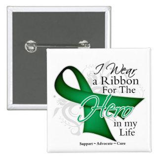 Liver Cancer Ribbon Hero in My Life 15 Cm Square Badge