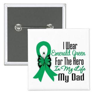 Liver Cancer Ribbon Hero My Dad 15 Cm Square Badge