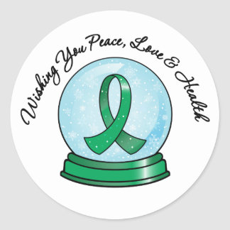 Liver Cancer Ribbon Merry Christmas Snowglobe Stickers