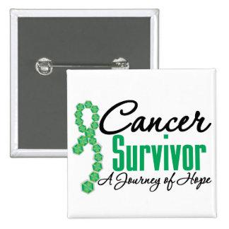 Liver Cancer Survivor Awareness Journey Ribbon 15 Cm Square Badge