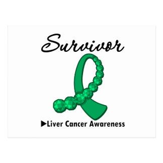 Liver Cancer Survivor Gemstone Ribbon Post Card