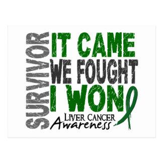 Liver Cancer Survivor It Came We Fought I Won Postcard