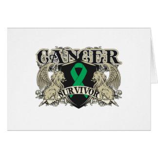Liver Cancer Survivor Mens Heraldry Greeting Cards