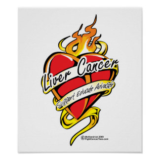 Liver Cancer Tattoo Heart Print