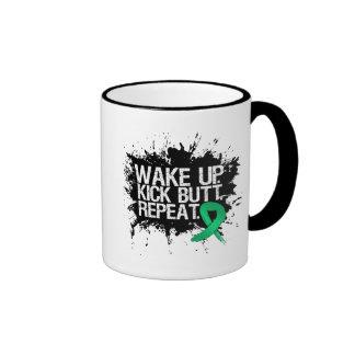 Liver Cancer Wake Up Kick Butt Repeat Ringer Mug