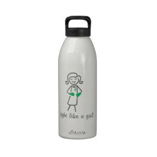 Liver Disease Fight Like A Girl (Retro) Water Bottles