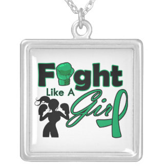 Liver Disease Fight Like A Girl Silhouette Square Pendant Necklace