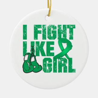 Liver Disease I Fight Like A Girl (Grunge) Round Ceramic Decoration
