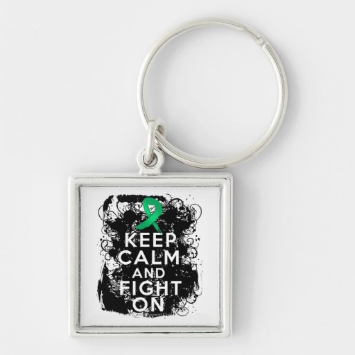 Liver Disease Keep Calm and Fight On Keychains