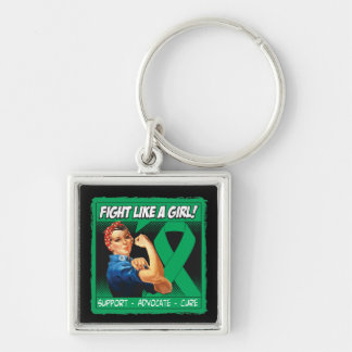 Liver Disease Rosie Riveter - Fight Like a Girl Silver-Colored Square Key Ring
