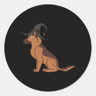 Liver & Tan German Shepherd with Witch Hat Round Sticker