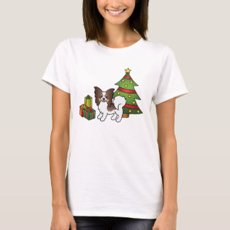 Liver Tricolor Papillon Christmas Dog T-Shirt