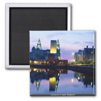 Liverpool at night, England Square Magnet