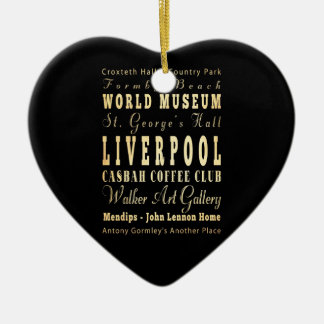 Liverpool City of United Kingdom Typography Art Ceramic Heart Decoration
