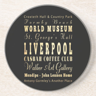 Liverpool City of United Kingdom Typography Art Drink Coasters
