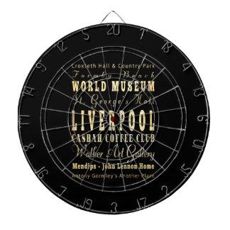 Liverpool City of United Kingdom Typography Art Dartboard With Darts