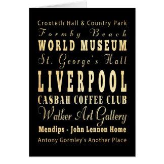 Liverpool City of United Kingdom Typography Art Greeting Card