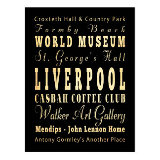 Liverpool City of United Kingdom Typography Art Postcard