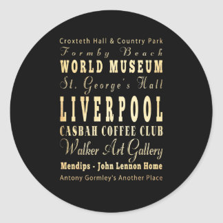 Liverpool City of United Kingdom Typography Art Round Sticker